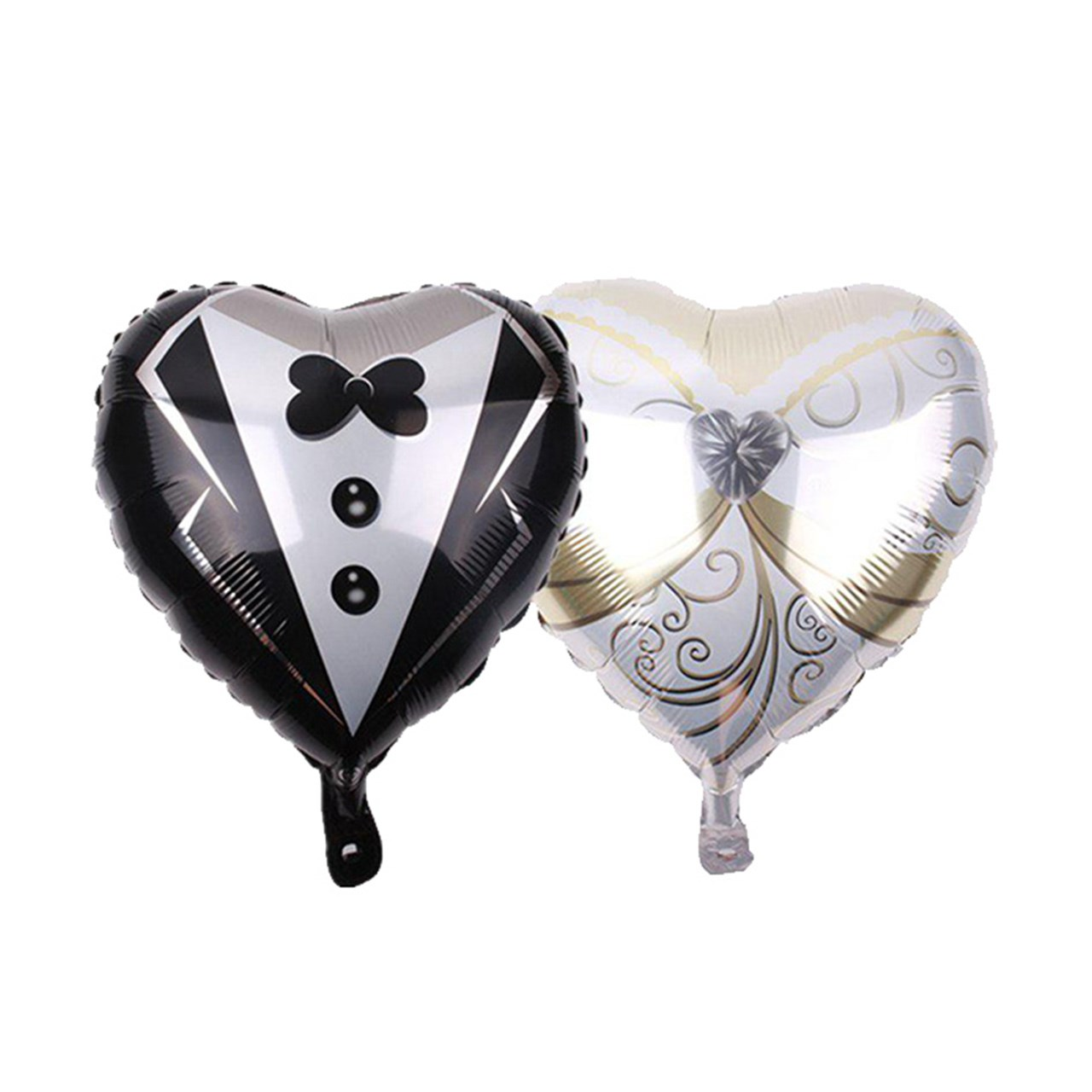 عکس بادکنک فویلی سورتک مدل قلب عروس و داماد بسته 2 عددی