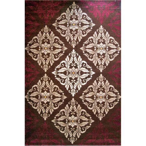 فرش ماشینی ساوین طرح کرانه زمینه قهوه ای