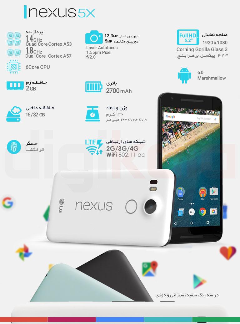 گوشی موبایل الجی مدل Nexus 5X  - ظرفیت 16 گیگابایت infographic