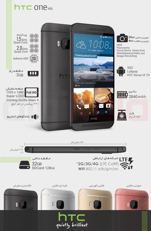 گوشی موبایل اچتیسی مدل One M9 infographic