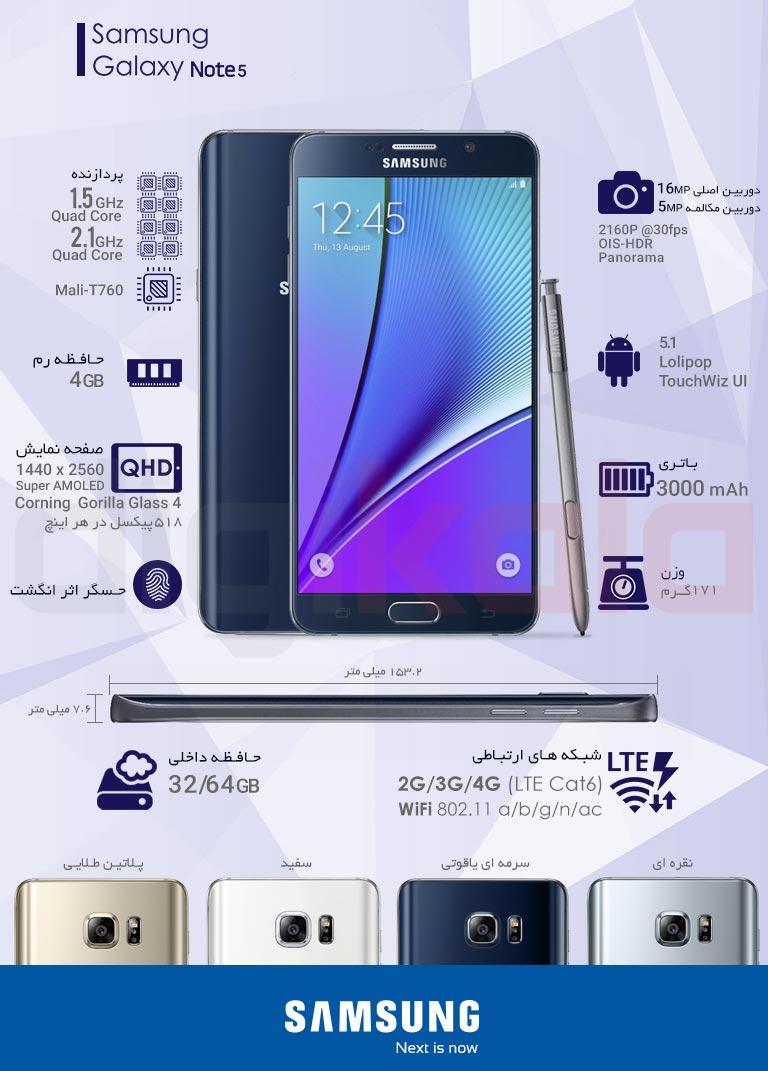 گوشی موبایل سامسونگ مدل Galaxy Note 5 SM-N920CD دو سیمکارت ظرفیت 32 گیگابایت infographic