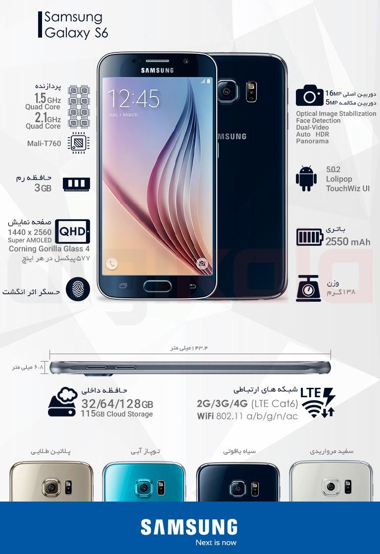 گوشی موبایل سامسونگ مدل Galaxy S6 SM-G920F ظرفیت 32 گیگابایت infographic