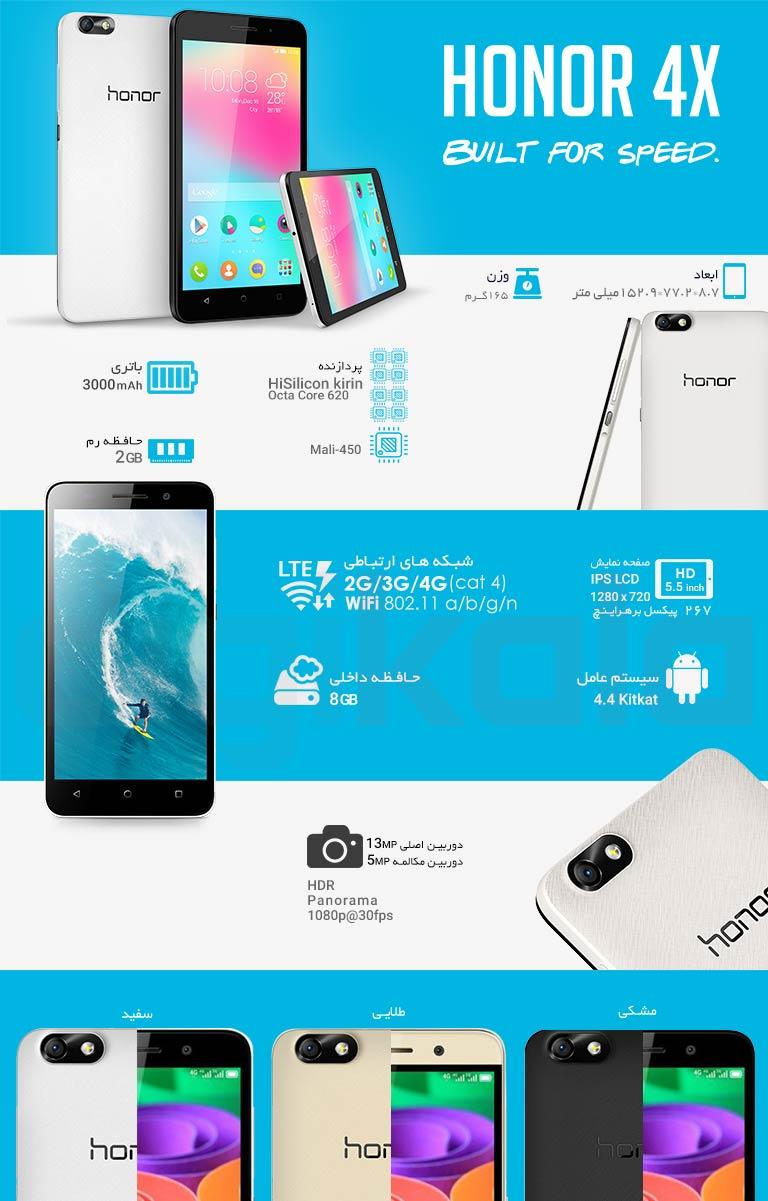 گوشی موبایل آنر مدل 4X دو سیمکارت infographic