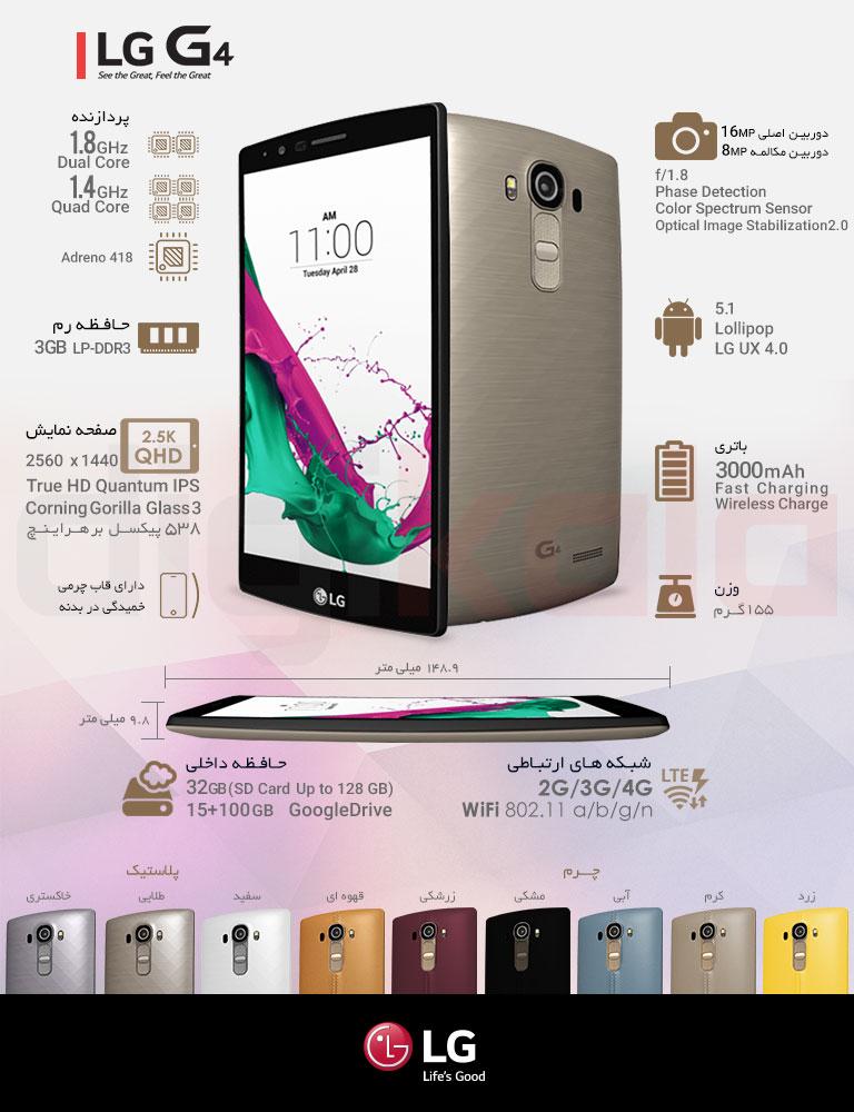 گوشی موبایل ال جی مدل G4 H818P با قاب پشتی پلاستیکی دو سیم کارت - ظرفیت 32 گیگابایت infographic