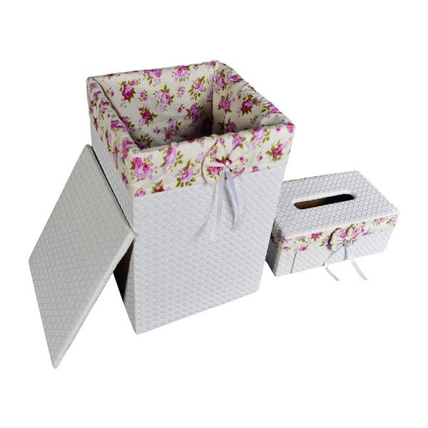 ست سطل و جا دستمال کاغذی شایگان مدل 033