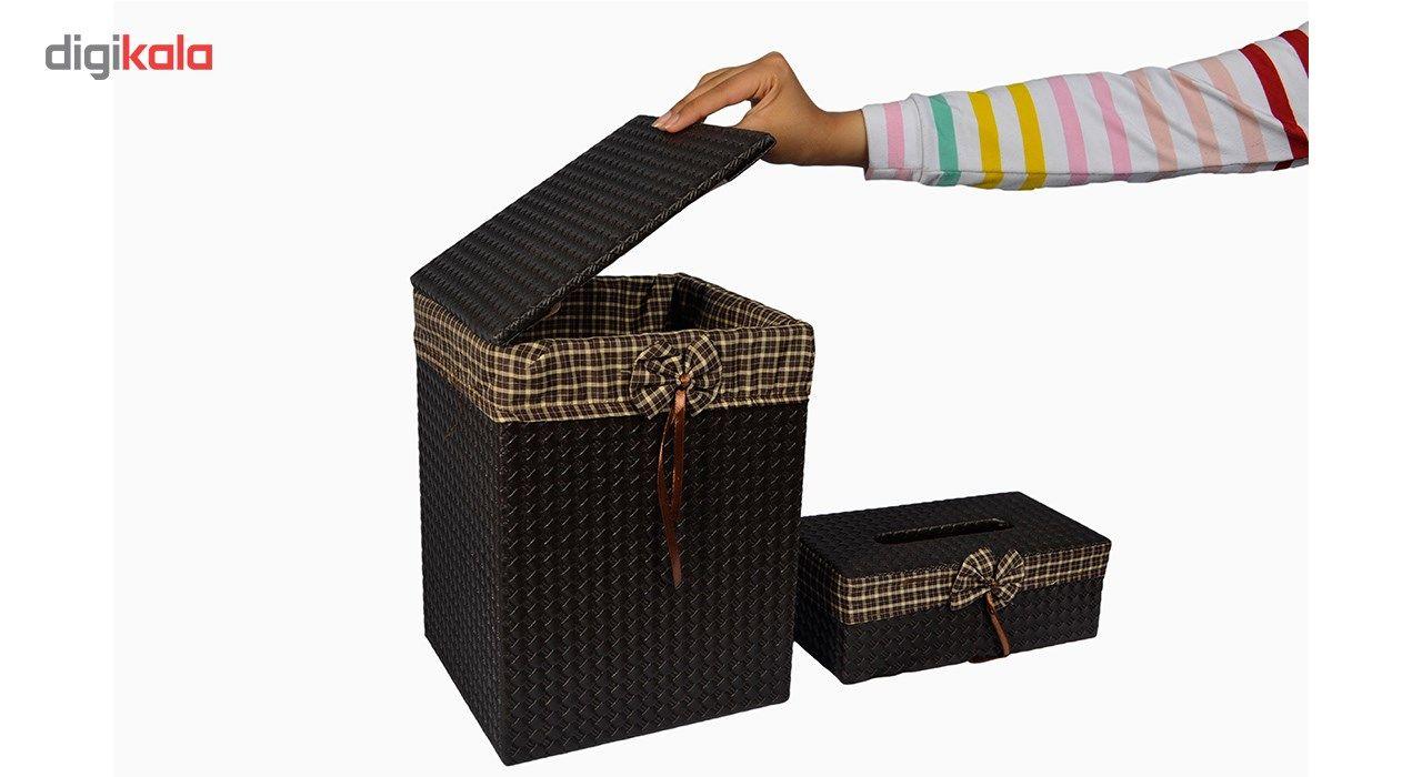 ست سطل و جا دستمال کاغذی شایگان مدل 033 main 1 2