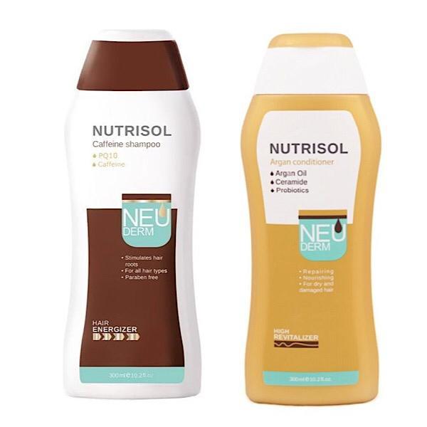 شامپو ضد ریزش مو نئودرم مدل NUTRISOL حجم 300 میلی لیتر به همراه نرم کننده