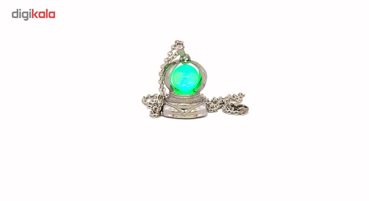 گردنبند نقره ای نور سبز لئو کد QSG