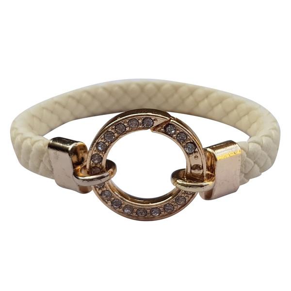 دستبند چرم خاطره مدل نگین دار سفید