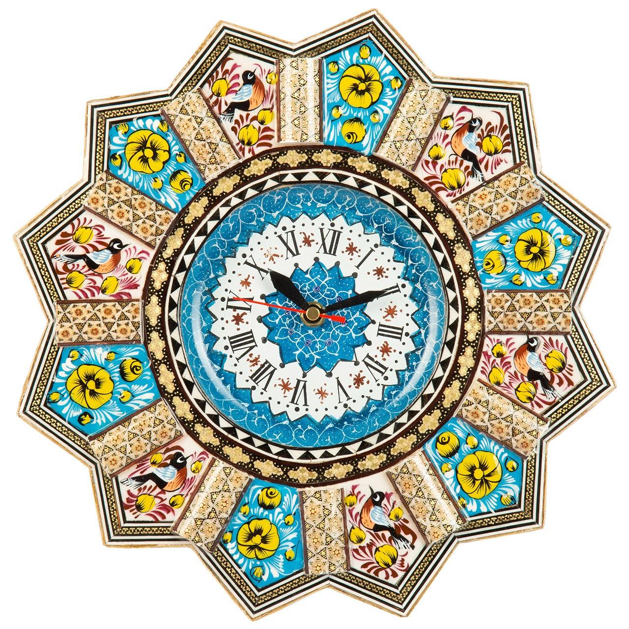 عکس ساعت دیواری خاتم کاری گالری گوهران مدل زرین کد 1388