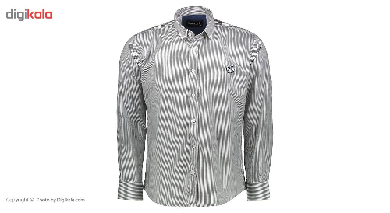 پیراهن  مردانه ناوالس طرح راه راه ریزمدلNKH27-RIZ-BK