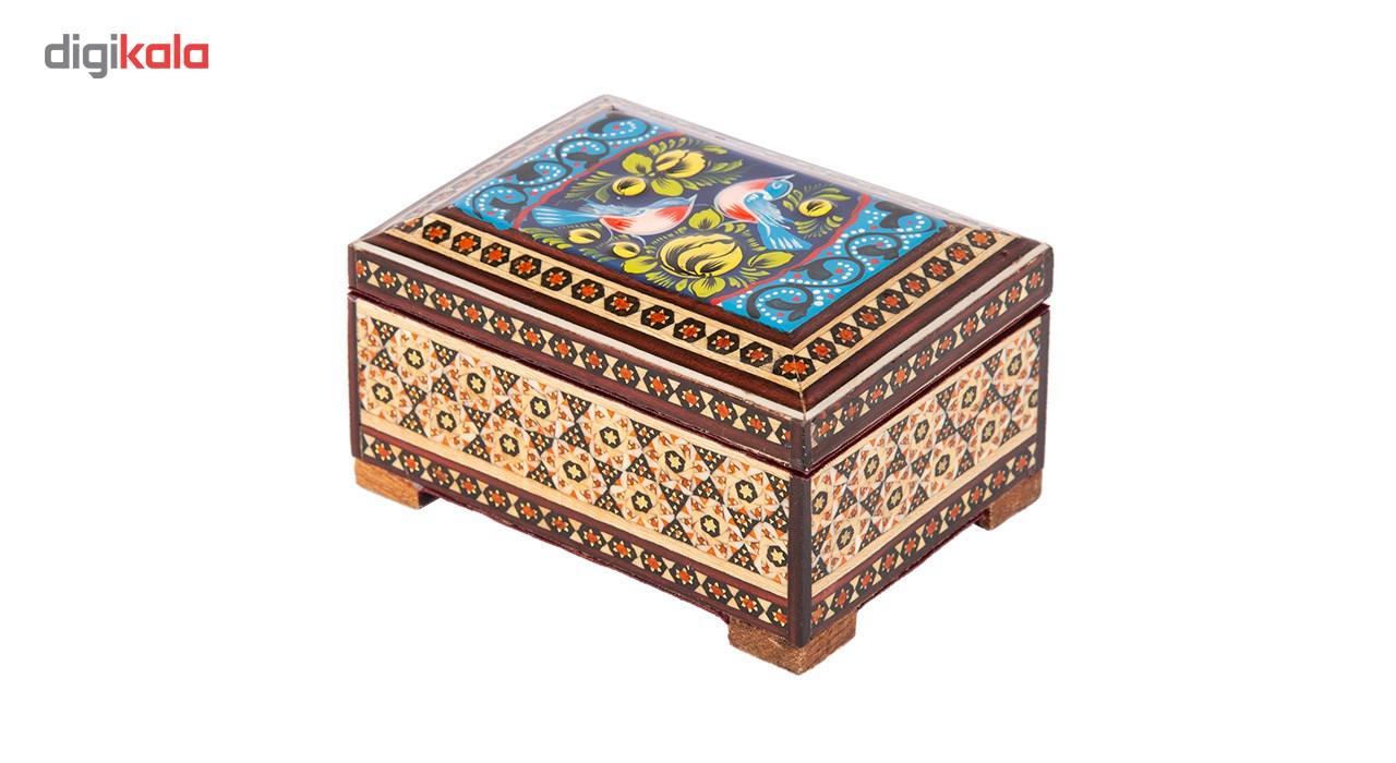 خرید                      جعبه جواهرات خاتم کاری گالری گوهران مدل گل و مرغ آسمانی کد 76