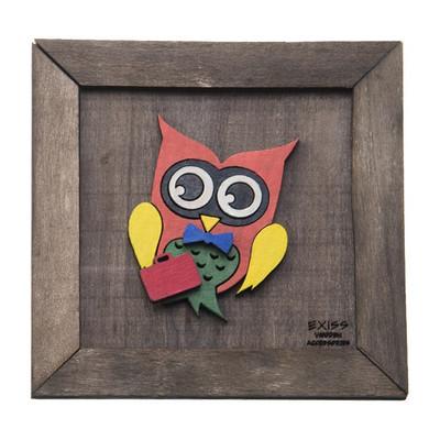 Photo of تابلو چوبی گالری اگزیس نقش جغد