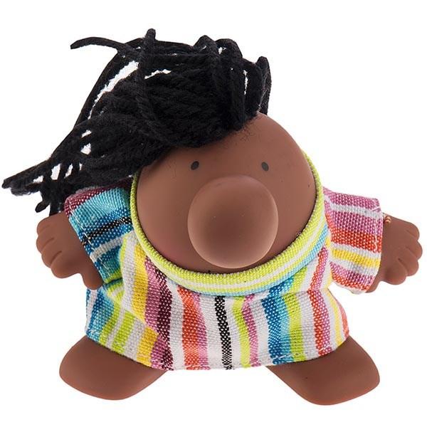 عروسک پالیز مدل مستر دماغ با موی آفریقایی و لباس راه راه سایز خیلی کوچک