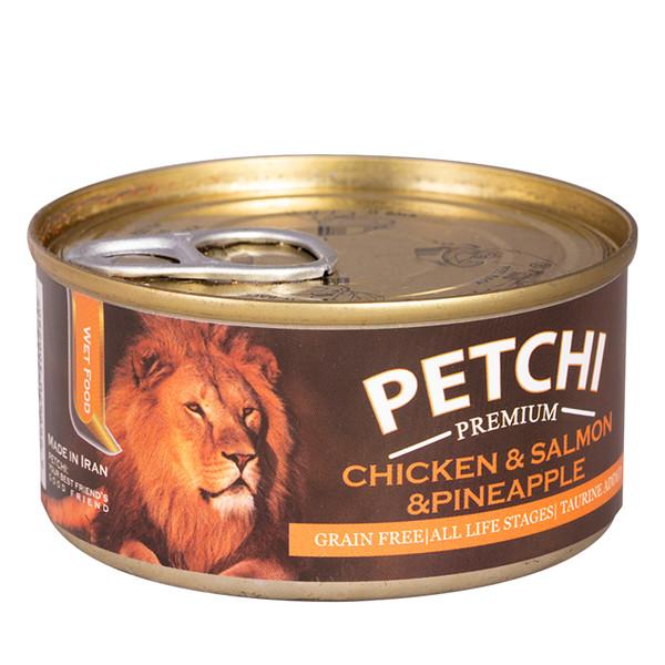 کنسرو غذای گربه پتچی مدل Chicken & Salmon & Pineapple وزن 120 گرم