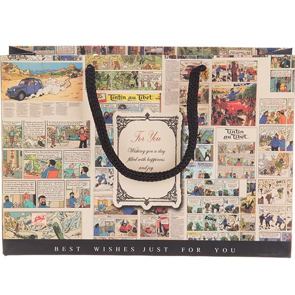پاکت هدیه افقی جیحون مدل For You طرح تن تن و میلو سایز کوچک