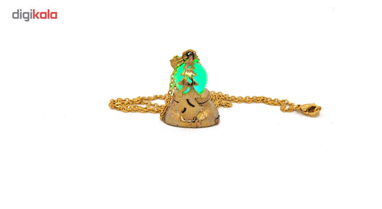 گردنبند لئو مدل پاین طلایی تراشدار نور سبز کد PGGT