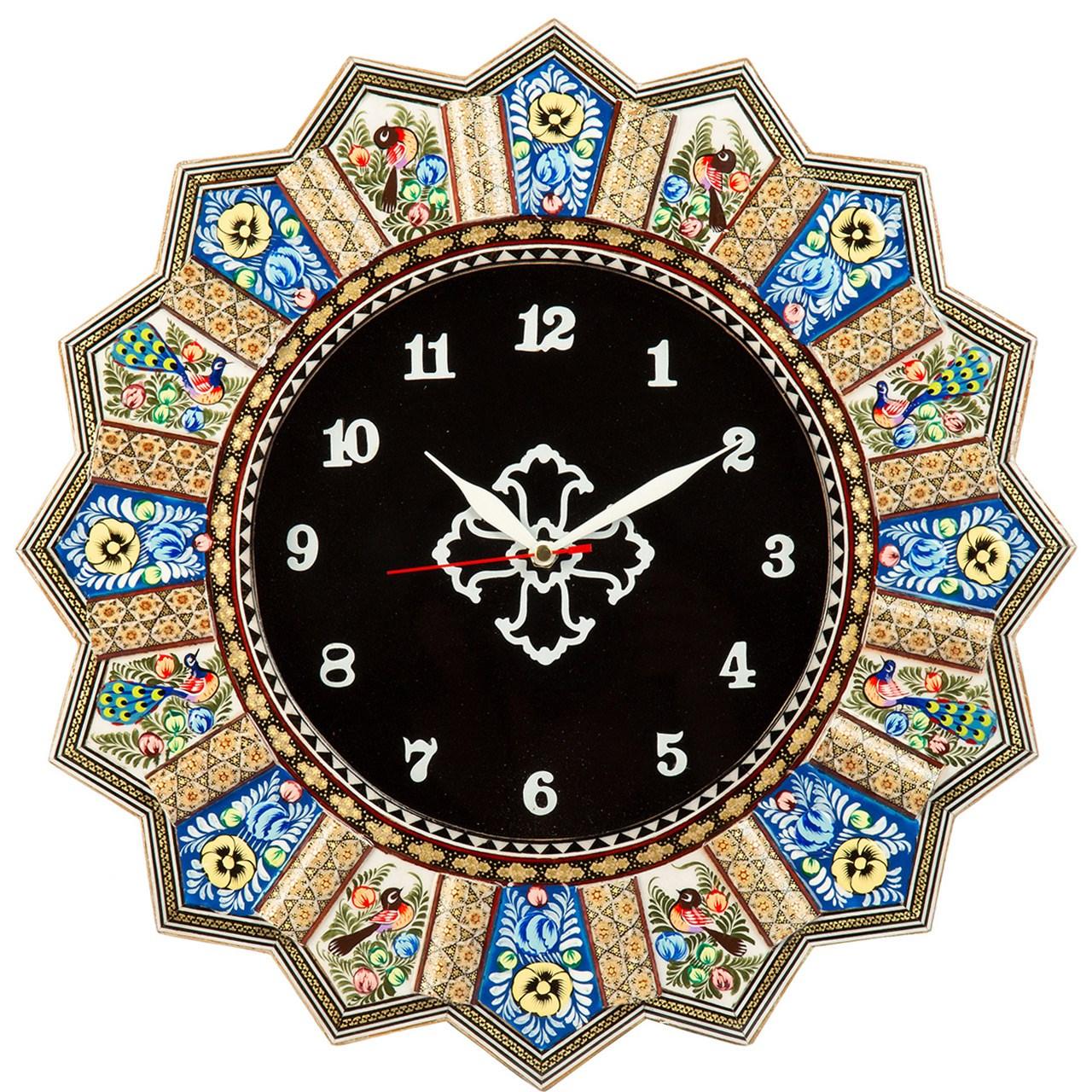 ساعت دیواری خاتم کاری گالری گوهران مدل بنفشه کد1387