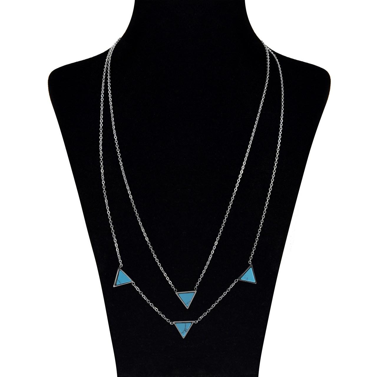 گردنبند  دولاین  مدل مارنا گالری Triangle Blue