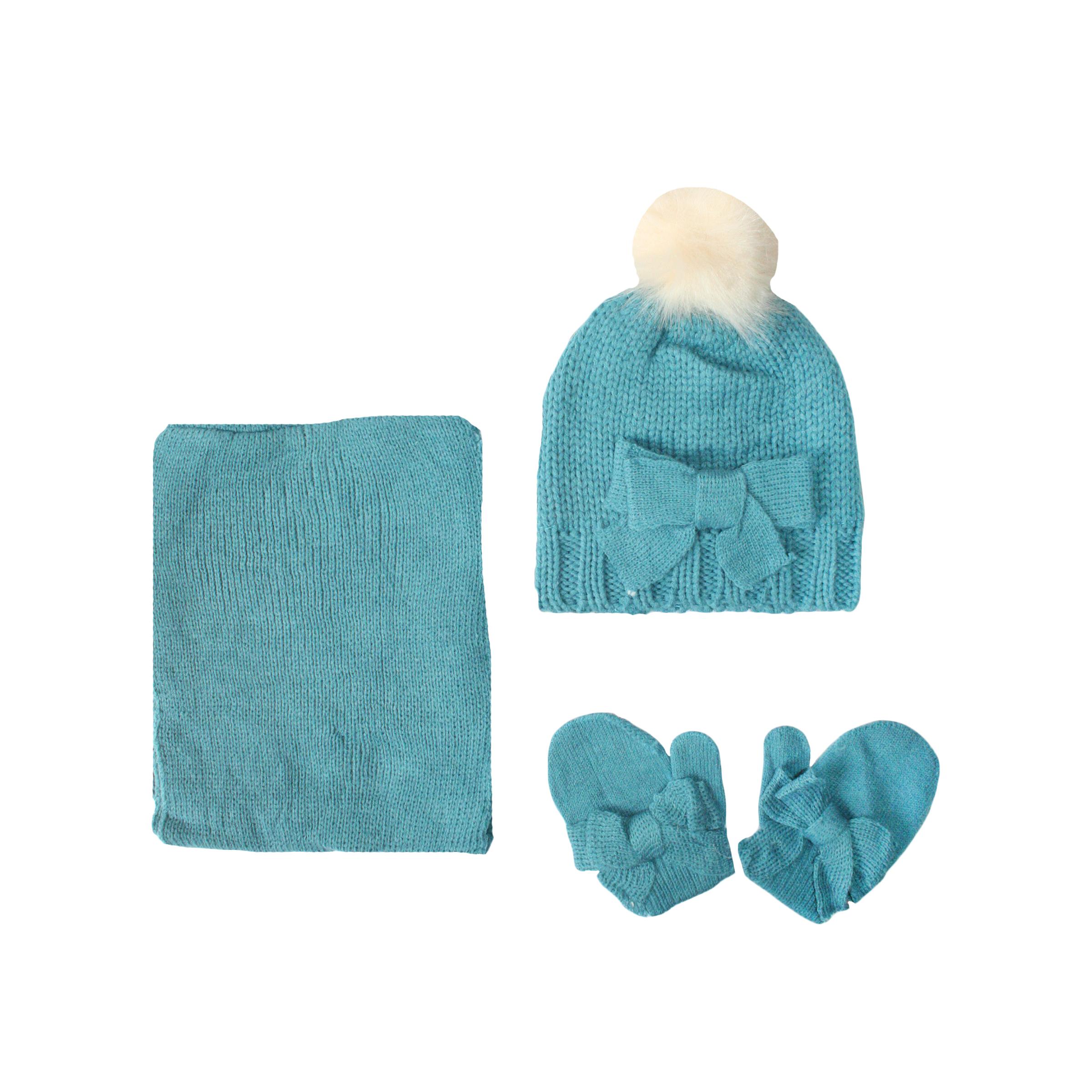 ست کلاه و شال گردن و دستکش بافتنی نوزادی دخترانه کد 550