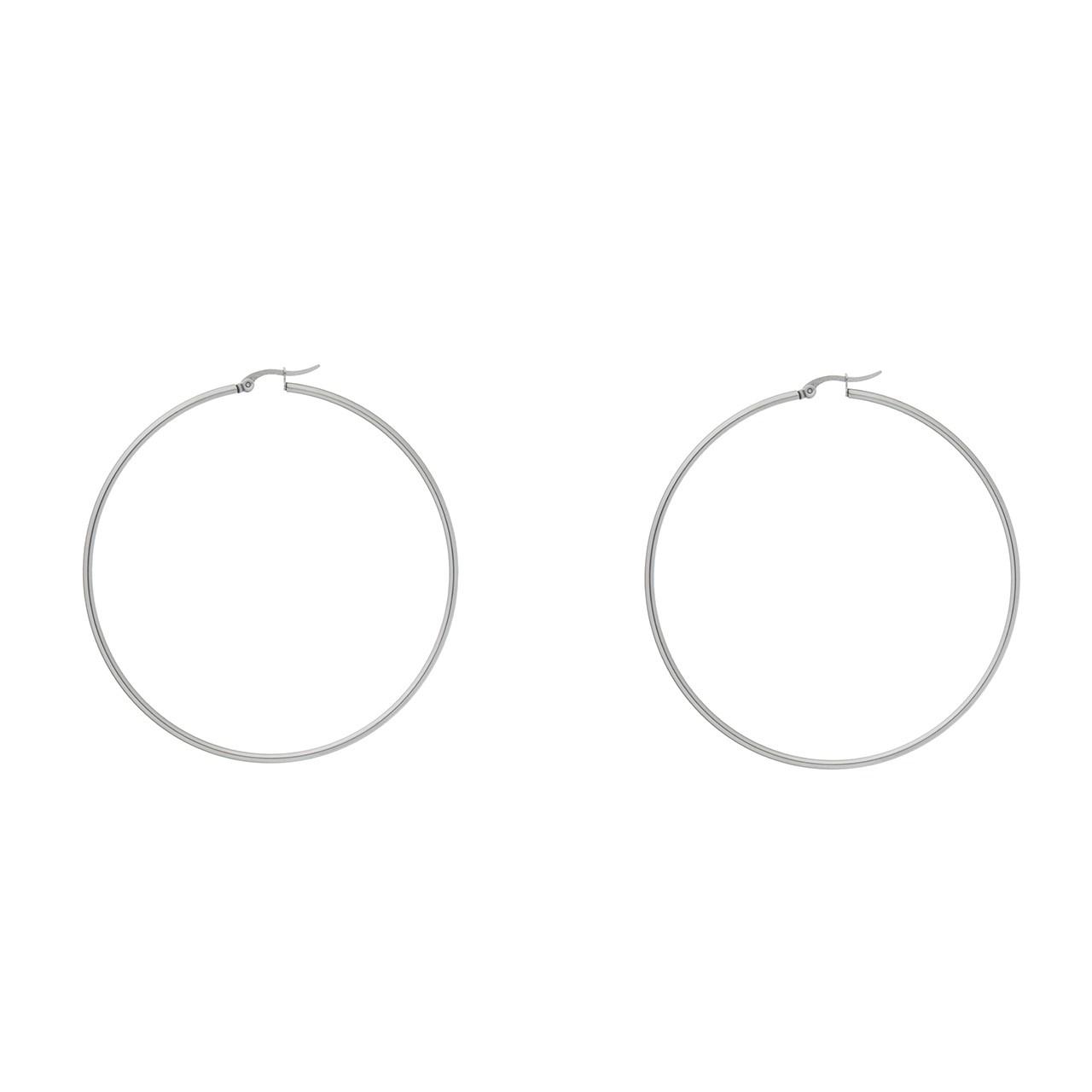 گوشواره حلقه ای استیل مارنا گالری مدل NB3 Silver