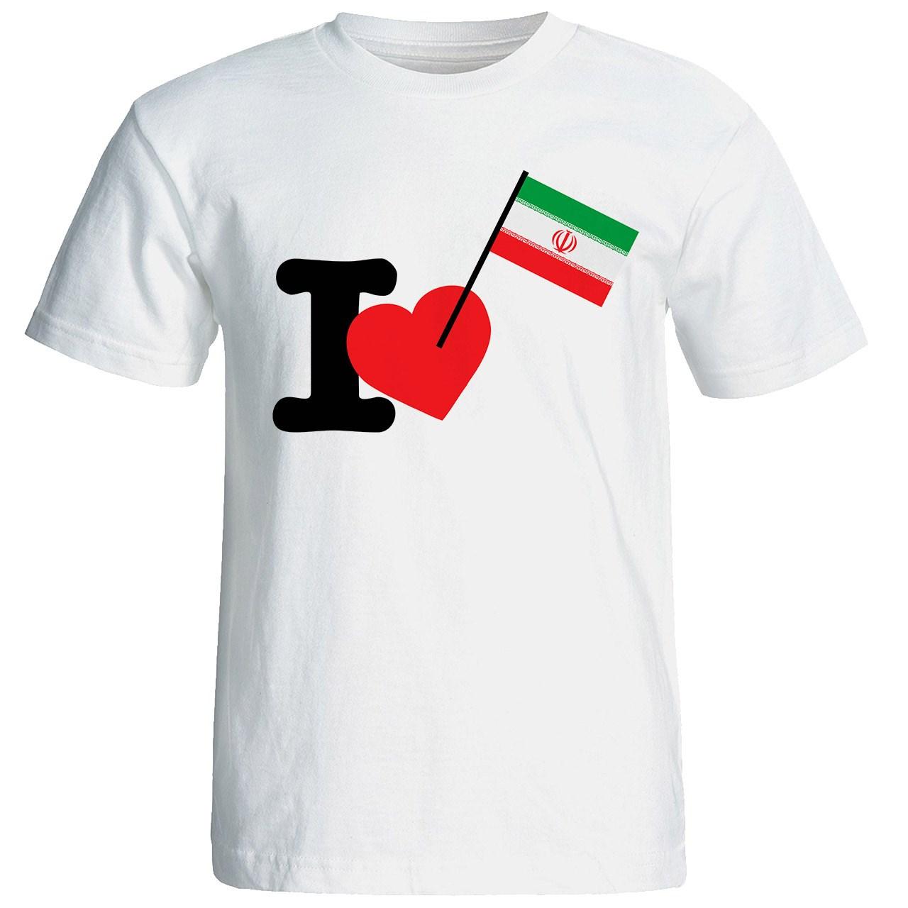 خرید تی شرت آستین کوتاه زنانه شین دیزاین طرح ای لاو ایران ایران  جام جهانی کد 4579