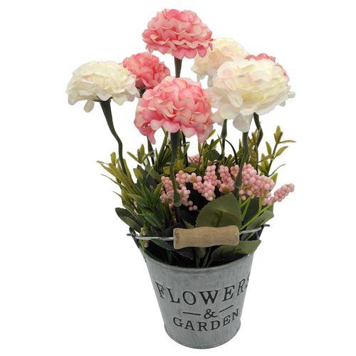 گلدان بهمراه گل مصنوعی هانا مدل سطل فلزی کد 009