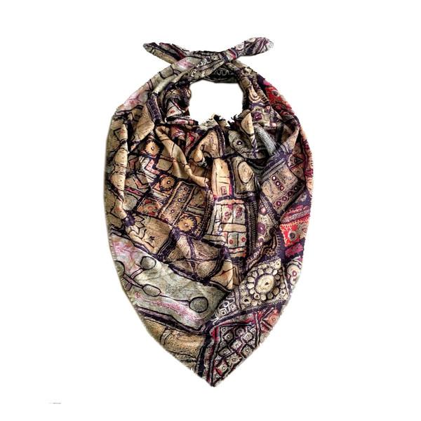 روسری نخی طرح سنتی مُدا اسکارف مدل W120