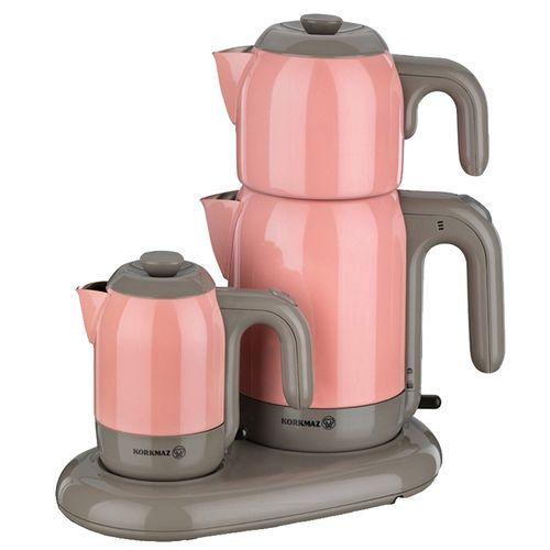چای و قهوه ساز کرکماز مدل Electrical Semaver Mia کد 353 به همراه یک عدد اردورخوری ویترای haiaho طرح لاله