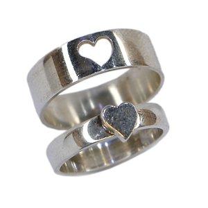 ست انگشتر نقره زنانه و مردانه مدل قلب پازلی کد RS004