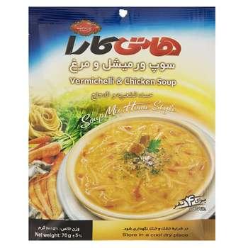 سوپ نیمه آماده ورمیشل و مرغ هاتی کارا مقدار 70 گرم