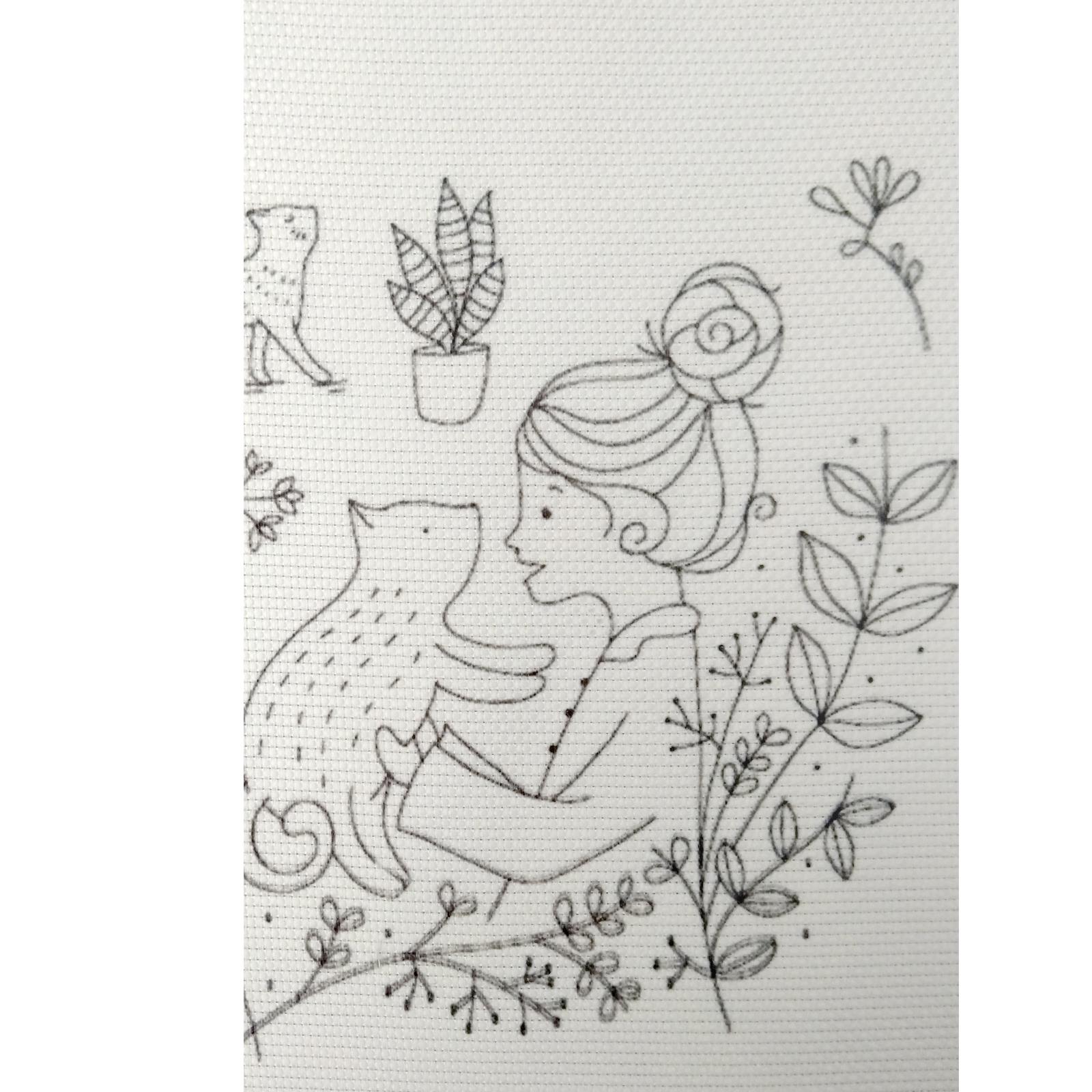 خرید                      بسته گلدوزی طرح دخترک وگربه مجموعه 14 عددی