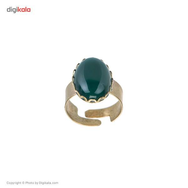 انگشتر ناردونه مدل بیضی گل سبز -  - 2