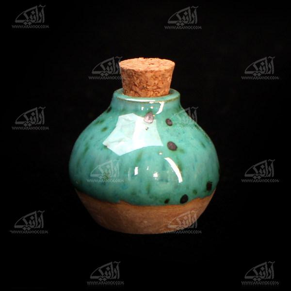 عطردان سفالی لعاب ساده  .رنگ سبز روشن طرح نشاط مدل 1002700001