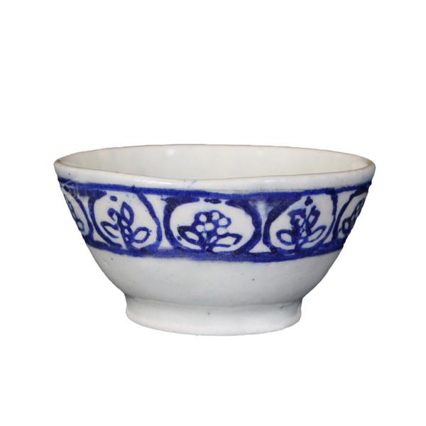 کاسه سفالی آرانیک نقاشی رولعابی رنگ آبی طرح گل مدل  1004000052