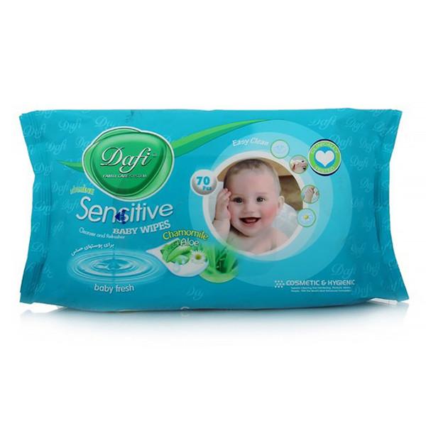 دستمال مرطوب پاک کننده کودک دافی مدل حساس- بسته 70 عددی