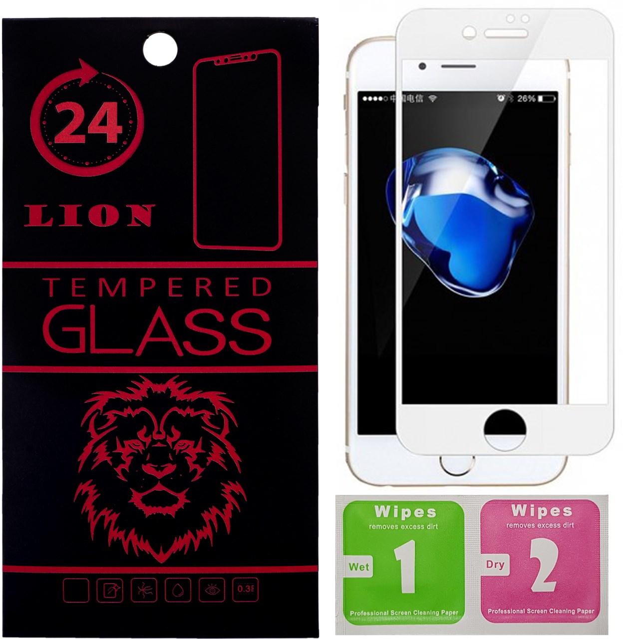 محافظ صفحه نمایش شیشه ای لاین مدل 3D Full Cover مناسب برای گوشی اپل آیفون 8 پلاس