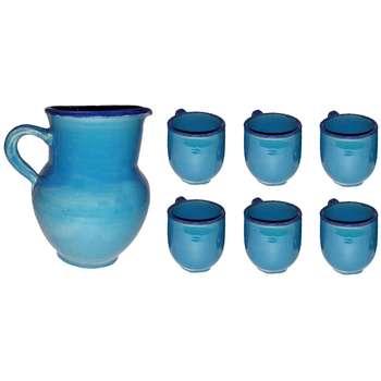 ست پارچ و لیوان سفالی طرح آبی مدل Simple
