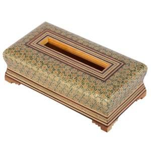 جعبه دستمال کاغذی خاتم کاری گالری گوهران مدل زبرجد کد 235