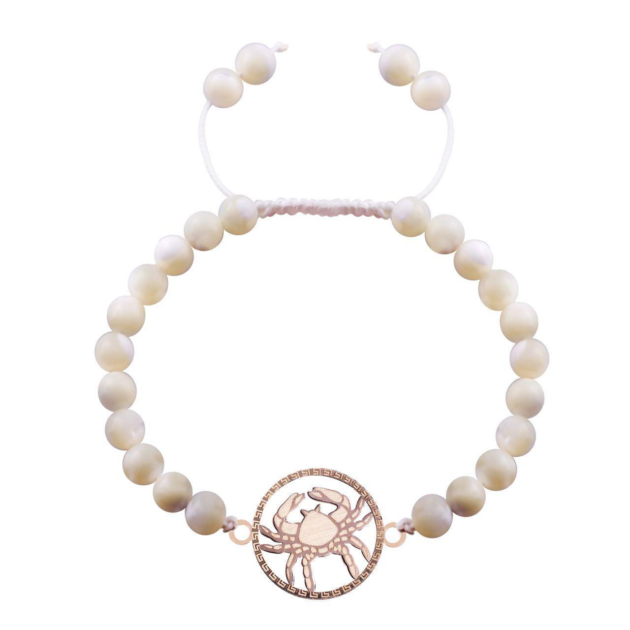 دستبند طلا 18 عیار گالری مرجان طرح ماه تولد تیر مدل 0793