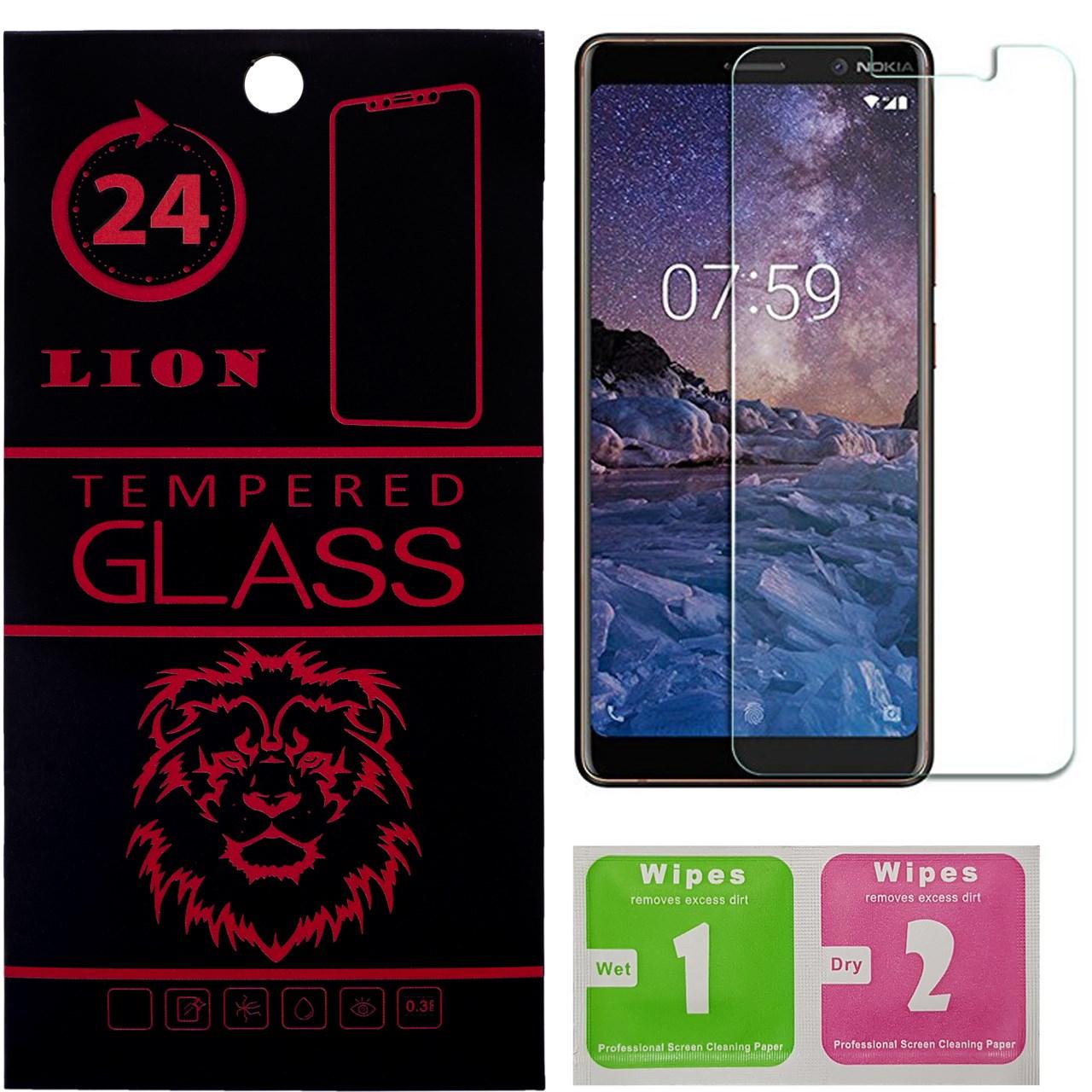 محافظ صفحه نمایش شیشه ای لاین مدل 2.5D مناسب برای گوشی نوکیا 7 پلاس