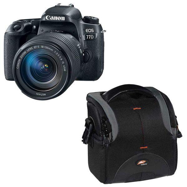 دوربین دیجیتال کانن مدل EOS 77D به همراه لنز 18-135 میلی متر USM و کیف دوربین سافروتو مدل H-201 | Canon EOS 77D Digital Camera With 18-135mm USM Lens and Safrotto H-201 Camera Bag