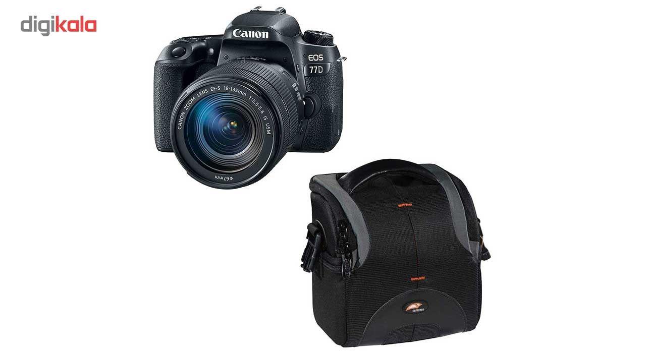 دوربین دیجیتال کانن مدل EOS 77D به همراه لنز 18-135 میلی متر USM و کیف دوربین سافروتو مدل H-201  C