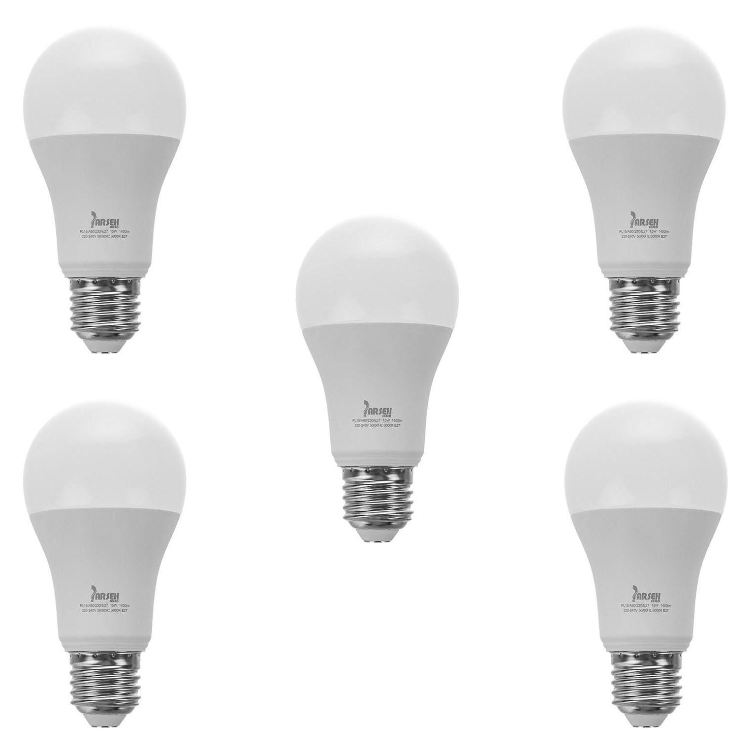 لامپ ال ای دی 15 وات پارسه شید مدل PL15 A60 پایه E27 بسته 5 عددی