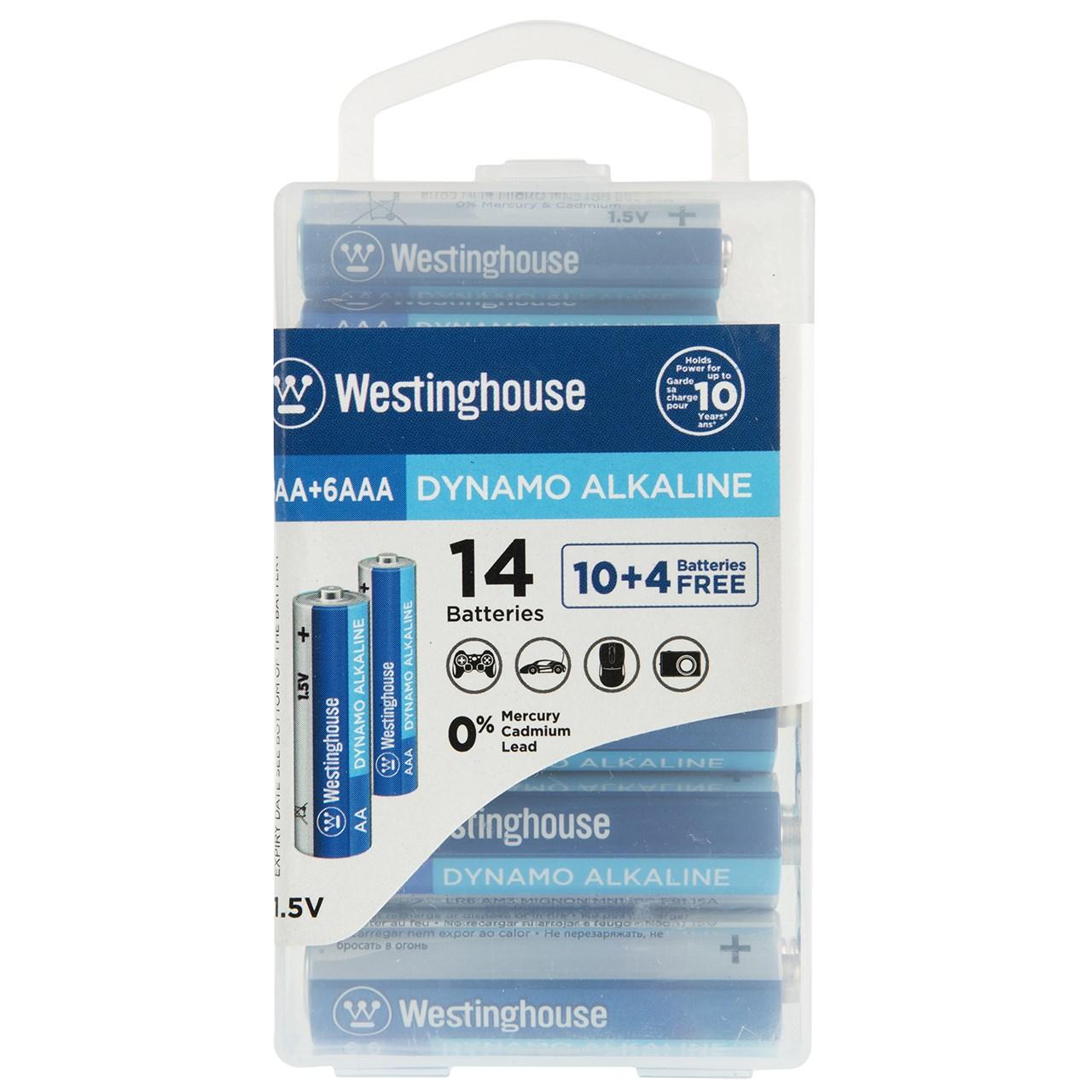 باتری قلمی و نیم قلمی وستینگهاوس مدل Dynamo Alkaline بسته 14 عددی