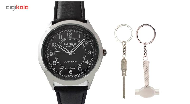 ساعت مچی عقربه ای مردانه لاروس مدل 80047S به همراه جاسوییچی طرح ابزار