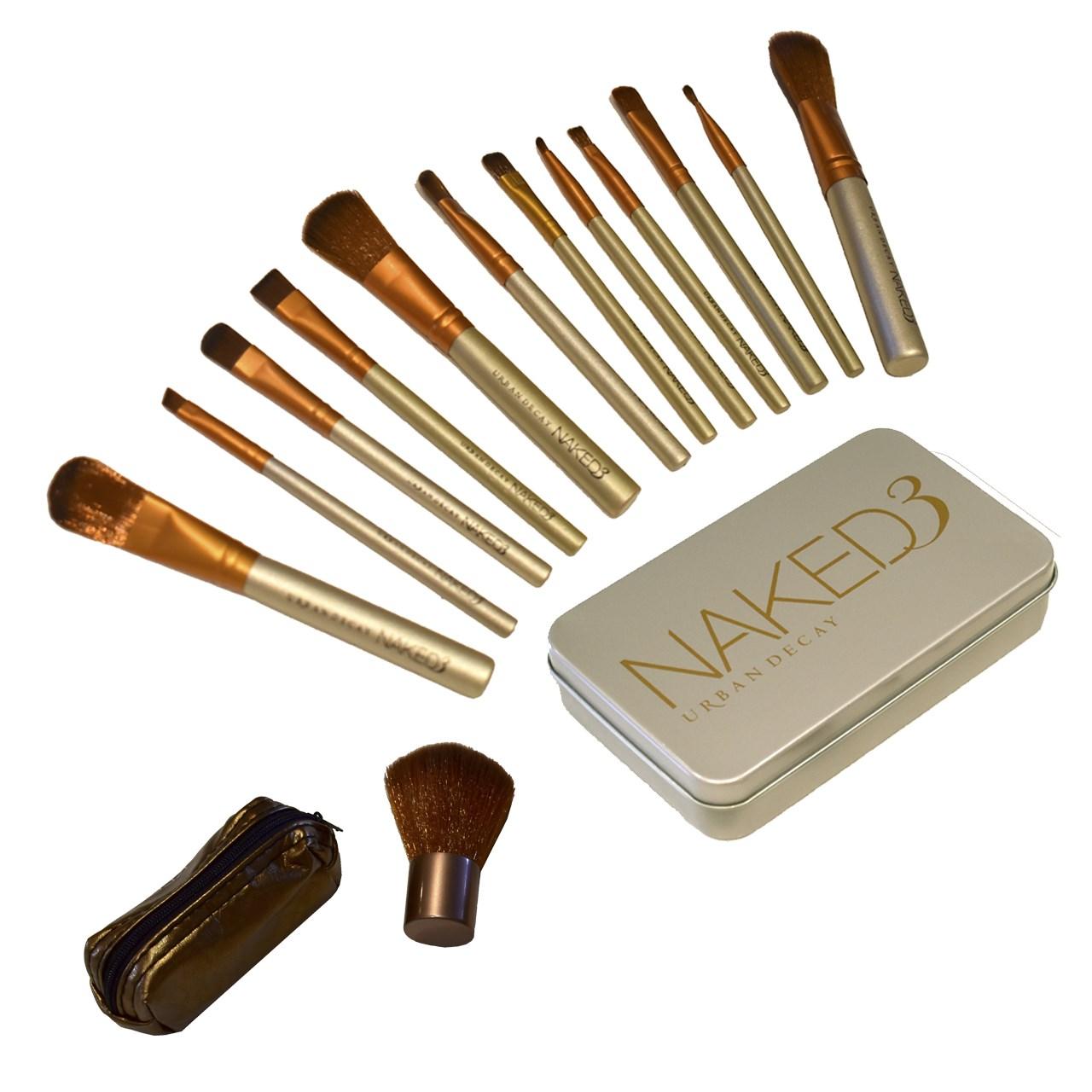 پک براش آرایشی NAKED  مجموعه 12 عددی به همراه براش رژگونه