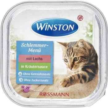 کنسرو غذای گربه وینستون مدل mit lachs in krautersauce وزن 100گرم