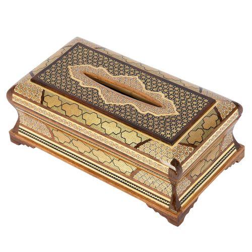 جعبه دستمال کاغذی خاتم کاری گالری گوهران مدل آذرین کد 1404