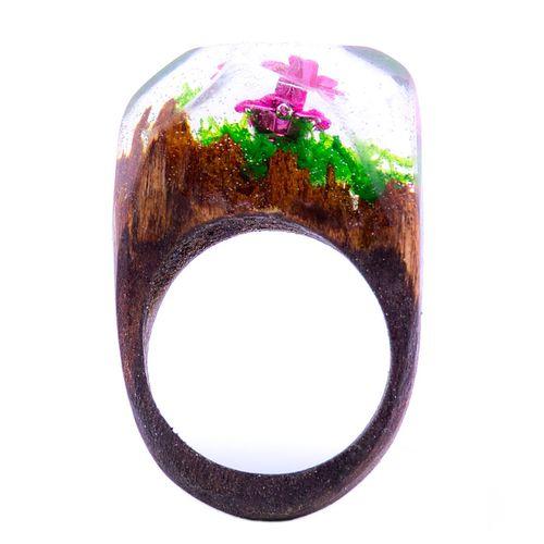انگشتر باربد مدل چوب و شیشه کد Q327